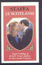 Staffa 1986 Royal Wedding imperf deluxe sheet (�2 value) opt'd Duke & Duchess of York in silver, unmounted mint