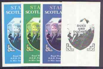 Staffa 1986 Royal Wedding imperf souvenir sheet (\A31 value) opt'd Duke & Duchess of York in silver, the set of 4 progressive proofs, comprising single colour, 2-colour plus two x 3-colour combinations, all with opt. (4 proofs)  unmounted mint