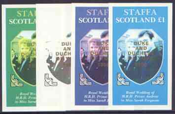 Staffa 1986 Royal Wedding imperf souvenir sheet (\A31 value) opt'd Duke & Duchess of York in gold, the set of 4 progressive proofs, comprising single colour, 2-colour plus two x 3-colour combinations, all with opt. (4 proofs) unmounted mint