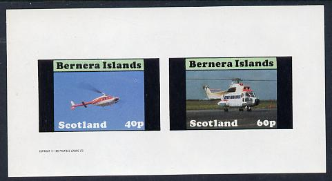Bernera 1982 Helicopters #2 imperf set of 2 values (40p & 60p) unmounted mint