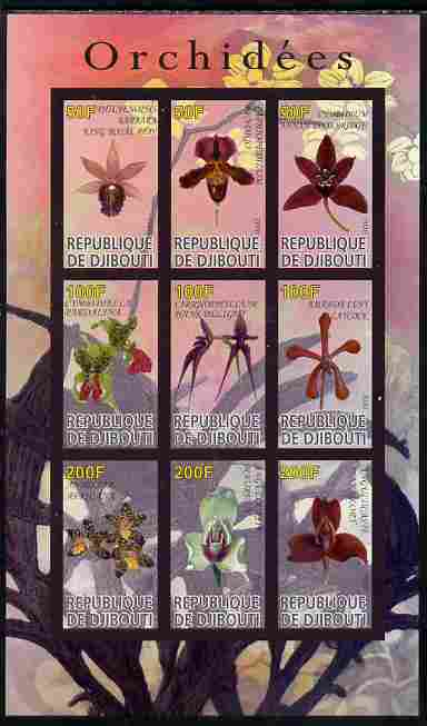 Djibouti 2010 Orchids imperf sheetlet containing 9 values unmounted mint