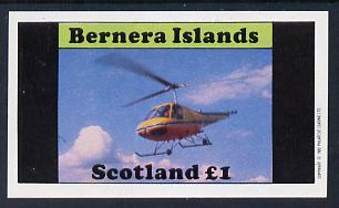 Bernera 1982 Helicopters #2 imperf souvenir sheet (�1 value) unmounted mint