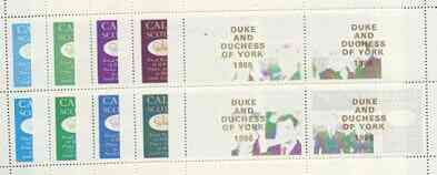 Calve Island 1986 Royal Wedding perf sheetlet of 4 opt'd Duke & Duchess of York in gold, the set of 5 progressive proofs, comprising single colour, 2-colour, two x 3-colour combinations plus completed design each with opt. (20 proofs) unmounted mint