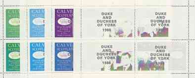 Calve Island 1986 Royal Wedding perf sheetlet of 4 opt'd Duke & Duchess of York in silver, the set of 4 progressive proofs, comprising single colour, 2-colour and two x 3-colour combinations each with opt. (16 proofs) unmounted mint