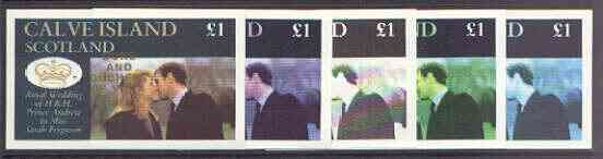 Calve Island 1986 Royal Wedding imperf souvenir sheet (\A31 value) opt'd Duke & Duchess of York in gold, the set of 5 progressive proofs, comprising single colour, 2-colour, two x 3-colour combinations plus completed design each with opt. (5 proofs) unmounted mint