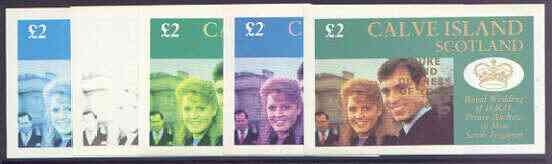 Calve Island 1986 Royal Wedding imperf deluxe sheet (\A32 value) opt'd Duke & Duchess of York in gold, the set of 5 progressive proofs, comprising single colour, 2-colour, two x 3-colour combinations plus completed design each with opt. (5 proofs) unmounted mint