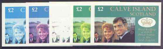 Calve Island 1986 Royal Wedding imperf deluxe sheet (\A32 value) opt'd Duke & Duchess of York in silver, the set of 5 progressive proofs, comprising single colour, 2-colour, two x 3-colour combinations plus completed design each with opt. (5 proofs) unmounted mint
