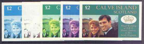Calve Island 1986 Royal Wedding imperf deluxe sheet (\A32 value) the set of 5 progressive proofs, comprising single colour, 2-colour, two x 3-colour combinations plus completed design (5 proofs) unmounted mint