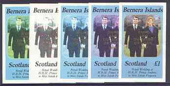 Bernera 1986 Royal Wedding imperf souvenir sheet (\A31 value) opt'd Duke & Duchess of York in gold, the set of 5 progressive proofs, comprising single colour, 2-colour, two x 3-colour combinations plus completed design each with opt. (5 proofs) unmounted mint