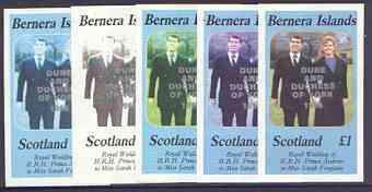 Bernera 1986 Royal Wedding imperf souvenir sheet (\A31 value) opt