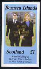 Bernera 1986 Royal Wedding imperf souvenir sheet (�1 value) opt