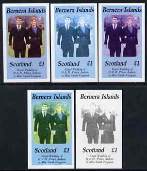 Bernera 1986 Royal Wedding imperf souvenir sheet (\A31 value) the set of 5 progressive proofs, comprising single colour, 2-colour, two x 3-colour combinations plus comple...
