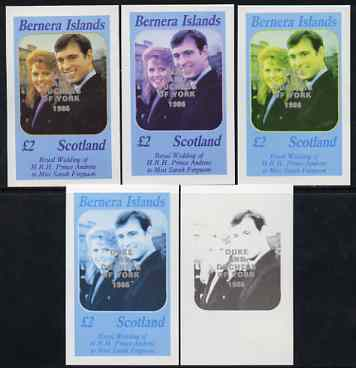 Bernera 1986 Royal Wedding imperf deluxe sheet (\A32 value) opt'd Duke & Duchess of York in silver, the set of 5 progressive proofs, comprising single colour, 2-colour, two x 3-colour combinations plus completed design each with opt. (5 proofs) unmounted mint