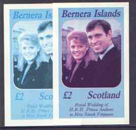 Bernera 1986 Royal Wedding imperf deluxe sheet (\A32 value) two progressive proofs, comprising 2-colour and 3-colour combinations (the remaining progressives were damaged by water at the printers) unmounted mint, stamps on royalty, stamps on andrew & fergie