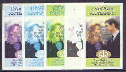 Davaar Island 1986 Royal Wedding imperf souvenir sheet (\A31 value) opt'd Duke & Duchess of York in silver, the set of 5 progressive proofs, comprising single colour, 2-colour, two x 3-colour combinations plus completed design each with opt. (5 proofs) unmounted mint