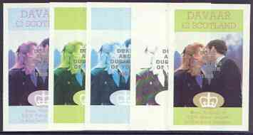 Davaar Island 1986 Royal Wedding imperf deluxe sheet (\A32 value) opt'd Duke & Duchess of York in silver, the set of 5 progressive proofs, comprising single colour, 2-colour, two x 3-colour combinations plus completed design each with opt. (5 proofs) unmounted mint