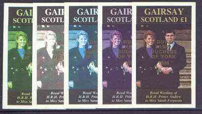 Gairsay 1986 Royal Wedding imperf souvenir sheet (\A31 value) opt'd Duke & Duchess of York in gold, the set of 5 progressive proofs, comprising single colour, 2-colour, two x 3-colour combinations plus completed design each with opt. (5 proofs) unmounted mint