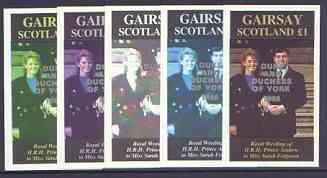 Gairsay 1986 Royal Wedding imperf souvenir sheet (\A31 value) opt'd Duke & Duchess of York in silver, the set of 5 progressive proofs, comprising single colour, 2-colour, two x 3-colour combinations plus completed design each with opt. (5 proofs) unmounted mint