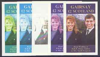 Gairsay 1986 Royal Wedding imperf deluxe sheet (\A32 value) opt'd Duke & Duchess of York in gold, the set of 5 progressive proofs, comprising single colour, 2-colour, two x 3-colour combinations plus completed design each with opt. (5 proofs) unmounted mint