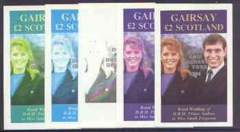 Gairsay 1986 Royal Wedding imperf deluxe sheet (\A32 value) opt'd Duke & Duchess of York in silver, the set of 5 progressive proofs, comprising single colour, 2-colour, two x 3-colour combinations plus completed design each with opt. (5 proofs) unmounted mint