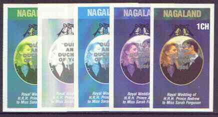 Nagaland 1986 Royal Wedding imperf souvenir sheet (1ch value) opt'd Duke & Duchess of York in silver, the set of 5 progressive proofs, comprising single colour, 2-colour, two x 3-colour combinations plus completed design each with opt. (5 proofs) unmounted mint