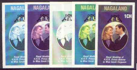 Nagaland 1986 Royal Wedding imperf souvenir sheet (1ch value) the set of 5 progressive proofs, comprising single colour, 2-colour, two x 3-colour combinations plus completed design (5 proofs) unmounted mint