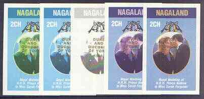 Nagaland 1986 Royal Wedding imperf deluxe sheet (2ch value) opt'd Duke & Duchess of York in gold, the set of 5 progressive proofs, comprising single colour, 2-colour, two x 3-colour combinations plus completed design each with opt. (5 proofs) unmounted mint