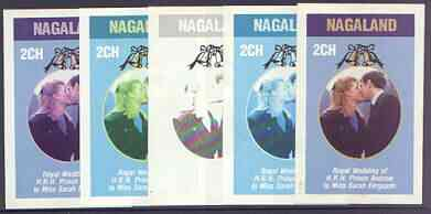 Nagaland 1986 Royal Wedding imperf deluxe sheet (2ch value) the set of 5 progressive proofs, comprising single colour, 2-colour, two x 3-colour combinations plus completed design (5 proofs) unmounted mint