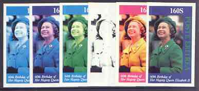 Eritrea 1986 Queen's 60th Birthday imperf souvenir sheet (160s value) the set of 6 progressive proofs comprising single colour, 2-colour, three x 3-colour combinations plus completed design (6 proofs)