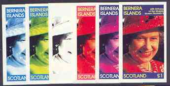 Bernera 1986 Queen's 60th Birthday imperf souvenir sheet (\A31 value) the set of 6 progressive proofs comprising single colour, 2-colour, three x 3-colour combinations plus completed design (6 proofs) unmounted mint