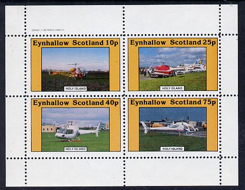 Eynhallow 1982 Helicopters #2 perf set of 4 values (10p to 75p) unmounted mint
