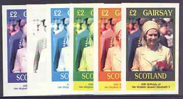 Gairsay 1986 Queen's 60th Birthday imperf deluxe sheet (\A32 value) the set of 6 progressive proofs comprising single colour, 2-colour, three x 3-colour combinations plus completed design (6 proofs) unmounted mint