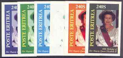 Eritrea 1986 Queen's 60th Birthday imperf deluxe sheet (240s value) the set of 6 imperf progressive proofs comprising single colour, 2-colour, three x 3-colour combinations plus completed design (6 proofs)