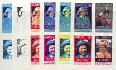 Gairsay 1986 Queen's 60th Birthday imperf sheetlet containing 4 values, the set of 6 progressive proofs comprising single colour, 2-colour, three x 3-colour combinations plus completed design (24 proofs) unmounted mint
