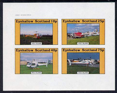 Eynhallow 1982 Helicopters #2 imperf set of 4 values (10p to 75p) unmounted mint