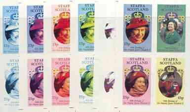 Staffa 1986 Queen's 60th Birthday imperf sheetlet containing 4 values, the set of 6 progressive proofs comprising single colour, 2-colour, three x 3-colour combinations plus completed design (24 proofs) unmounted mint