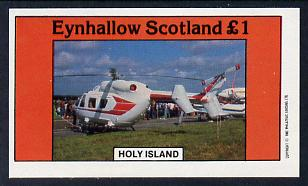Eynhallow 1982 Helicopters #2 imperf souvenir sheet (�1 value) unmounted mint