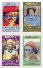 Grunay 1986 Queen's 60th Birthday imperf sheetlet of 4 with AMERIPEX opt in blue unmounted mint