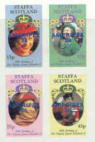 Staffa 1986 Queen's 60th Birthday imperf sheetlet of 4 with AMERIPEX opt in blue unmounted mint