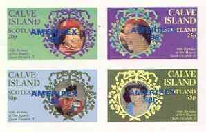 Calve Island 1986 Queen's 60th Birthday imperf sheetlet of 4 with AMERIPEX opt in blue unmounted mint