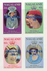 Nagaland 1986 Queen's 60th Birthday imperf sheetlet of 4 with AMERIPEX opt in blue unmounted mint