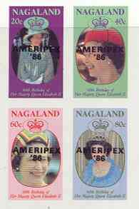 Nagaland 1986 Queen's 60th Birthday imperf sheetlet of 4 with AMERIPEX opt in black unmounted mint