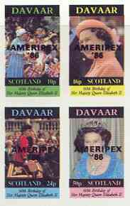 Davaar Island 1986 Queen's 60th Birthday imperf sheetlet of 4 with AMERIPEX opt in black unmounted mint