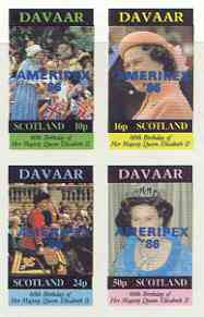 Davaar Island 1986 Queen's 60th Birthday imperf sheetlet of 4 with AMERIPEX opt in blue unmounted mint