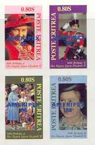 Eritrea 1986 Queen's 60th Birthday imperf sheetlet of 4 with AMERIPEX opt in blue unmounted mint