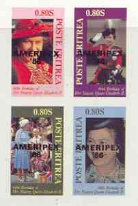 Eritrea 1986 Queen's 60th Birthday imperf sheetlet of 4 with AMERIPEX opt in black unmounted mint