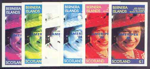 Bernera 1986 Queen's 60th Birthday imperf souvenir sheet (\A31 value) with AMERIPEX opt in blue, the set of 6 progressive proofs comprising single colour, 2-colour, three x 3-colour combinations plus completed design (6 proofs) unmounted mint