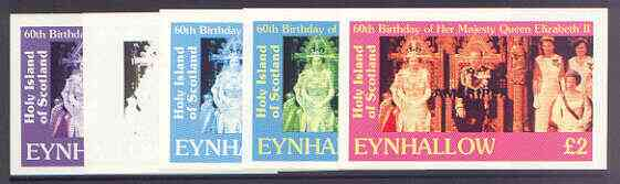Eynhallow 1986 Queen's 60th Birthday imperf deluxe sheet (\A32 value) with AMERIPEX opt in black, set of 5 progressive proofs comprising single & various composite combinations unmounted mint