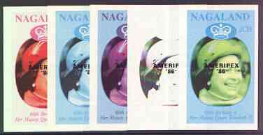 Nagaland 1986 Queen's 60th Birthday imperf deluxe sheet (2Ch value) with AMERIPEX opt in black, set of 5 progressive proofs comprising single & various composite combinations unmounted mint