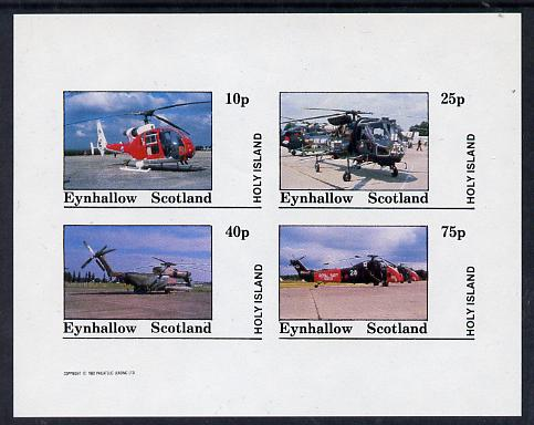 Eynhallow 1982 Helicopters #3 imperf set of 4 values (10p to 75p) unmounted mint